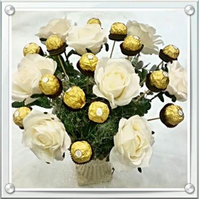 שוקולד ופרחים לבנים