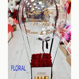 שילוב של כדור פורח עם פרחים ומתוקים